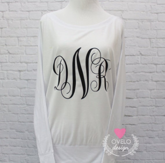 Monogram Flowy off the Shoulder Long Sleeve T-shirt
