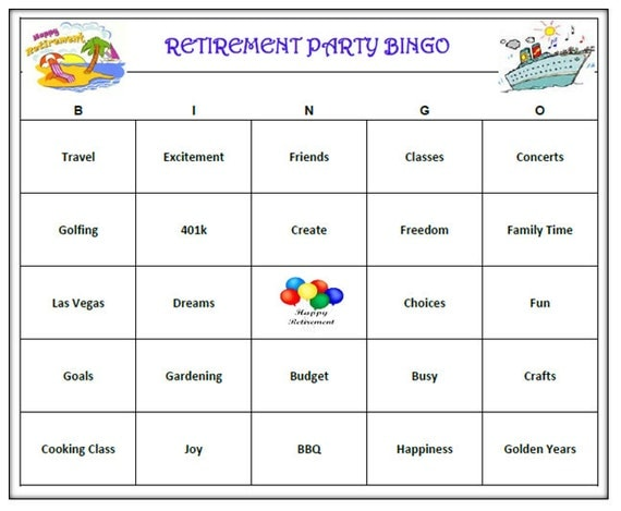Retirement Party Bingo Game 60 Cards Retirement Bingo