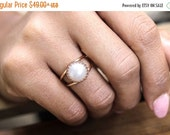 SUMMER SALE - 14k rose gold filled ring,white pearl ring,freshwater pearl ring,bridal ring,bridesmaid gifts,rose gold ring,pink go