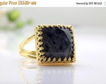 SUMMER SALE - Blue Jade ring,gemstone ring,gold ring,gold filled ring,square ring,square cut ring,dark blue ring