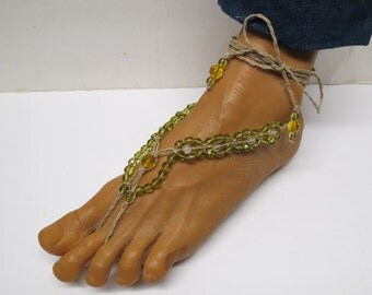 SALE Pair of Green and yellow barefoot sandals made with hemp.  Beach and bellydance fashion. HFT-A322