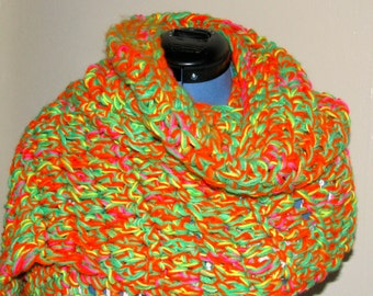 Supersized Neon Crocheted Scarf