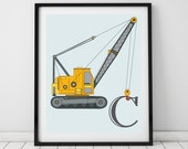 Truck wall art, personalised letter print. Toddler room decor. Truck nursery. Construction vehicle prints. Personalised Baby boy decor