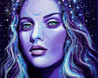 "12 x 12, Fine Art Print, ""Selene"", painting by Kamille Freske, pagan art, wiccan art, goddess art, fantasy art, surreal, wicca, fairy art"