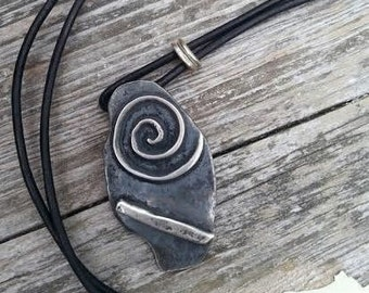 Hand Hammered Reclaimed Sterling Statement Pendant