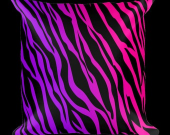 Zebra Print Purple Designer Throw Pillow