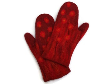 Felted Mittens Wool Red Burgundy