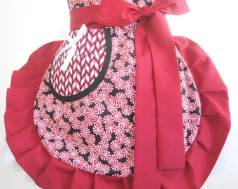 Ready to Ship Peppermint Candy Cane Christmas Apron Christmas Half Apron