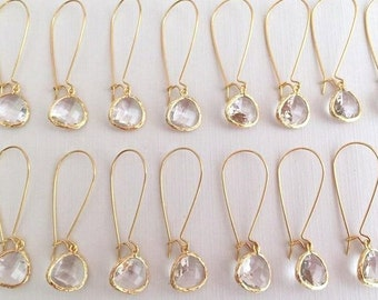 10% OFF SET of 7 Wedding Jewelry Gold Crystal Clear Earrings, Clear Earrings, Crystal, Bridesmaid Earrings, Bridal Earrings,Wedding Earrings