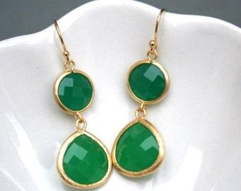 Gold Green Earrings. Green Aventurine Earrings.Delicate.Dainty.Gold Earrings.Bridesmaids Earrings. Bridesmaid Gifts. Wedding Earrings.Bridal
