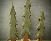 Hand Carved Folk Art Pine Trees Set of 3  ~ Original Design and Handmade by artist Robert Neel ~  Signed and Dated