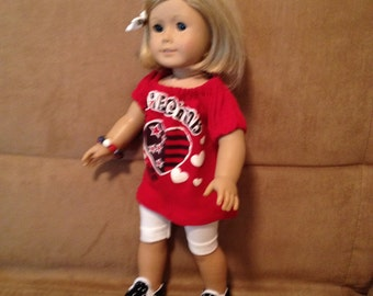 18 inch Doll (modeled by American Girl) Patriotic summer set with shoes, bracelet and hair bow