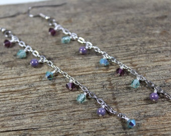 Aqua and Lavender Purple Sparkly Super Long Dangle Chain Earrings / Purple Earrings / Mint Green / Gifts for Her / Gifts for Women / Long