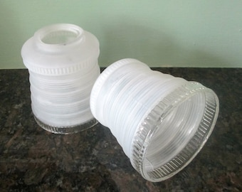 Art Deco Glass Light Shades / Set of 2 Clear White Lamps /  Simple Lines Home Decor