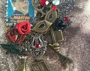 The PHANTOM of the OPERA Brooch - Scary Monster - Lon Chaney Collage PIN