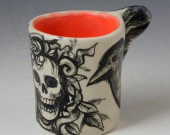Bird cup demitasse espresso with skull, black and white and red interior