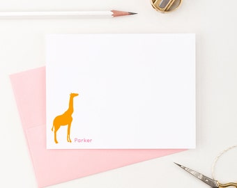 Giraffe Personalized Stationery // Custom stationery // Personalized Stationary // Animal Stationery // set of 10 flat note cards, KS019