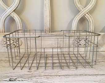 Vintage Rustic Wire Storage Basket - Industrial Locker or Bike Basket