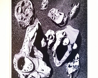 Asteroids digital Print