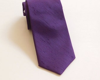 Purple plum shantung neck tie standard or skinny textured tie faux silk dupoini