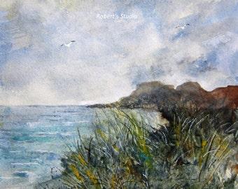 Beachscape, Print Of Original Watercolor seascape painting, watercolor art, nautical print, beach art, beach painting, beach watercolor.