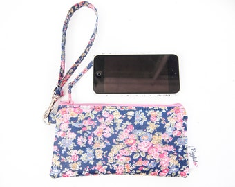 iPhone (or other smartphone) Case with a Wristlet - Liberty of London Oilcloth (Tatum in Navy Blue and Pink)