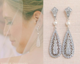 Crystal Bridal earrings  Wedding jewelry Swarovski Crystal Pearl Wedding earrings Bridal jewelry, Shelby Vintage Drop Earrings