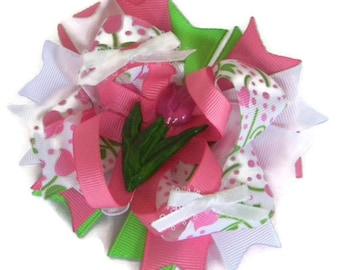 """Tulip Hair Bow 4.5"""" White, Pink and Green Tulip Print Ribbon Bow, Ribbon Spikes, White Satin Mini Bows with Pink Tulip Centers For Spring"""