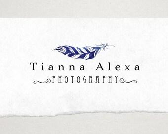 Premade Logo // Logo Design // Business Logo //  Photography Logo // Watercolor Logo // Horizontal Feather Logo