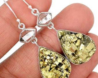 Quartz Hermimer Diamond and Pyrite Earring Pair. SHINE!