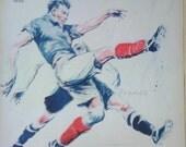 Original French Vintage Poster Ad Sports Soccer Poster  1933  Cover, Art Illustration Paul Ordner
