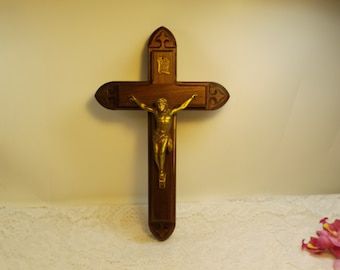 Antique Sick Call Crucifix, Last Rites Crucifix. Rare.Religion. Christianity. Wall crucifix. Wall hanging. Home decor .Ready to hang.