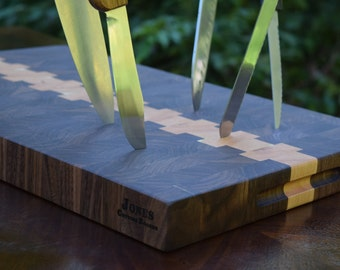 Walnut Cherry End Grain Cutting Board Butcher Block FREE USA SHIPPING JonesCuttingBoards HandCrafted