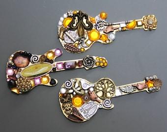 Funky Steampunk Metallic Mosaic Guitar Magnet or Pins - 15.00 Each