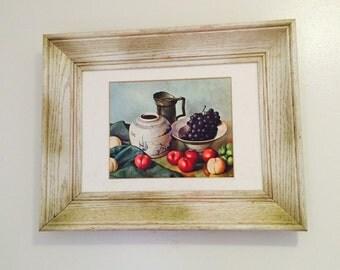 Vintage Hank Bog Print Still Life Fruit Kitchen Painting Framed Midcentury Art