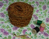 "Cute Antique,Vintage Wicker Sewing Basket Nice Texture, 4"" Silk Lined"