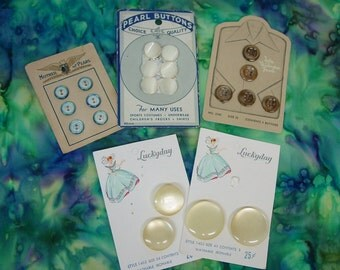 5 Original Cards of Buttons, 3 Pearl, Variety
