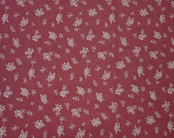 "Pretty Vintage 1960's Cotton Fabric, Mauve, Rose with White Print 3 2/3 Yards 44"" Wide"
