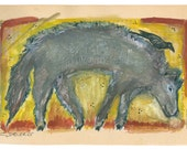 Hold for KIM - GhosT WolF - Original Encyclopedia Page Painting -  OutSider / Visionary ArT - Cathy DeLeRee