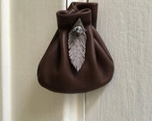 Leather Pouch Bag - Leather Feather Neck Pouch - Medicine Bag - Sage Sack