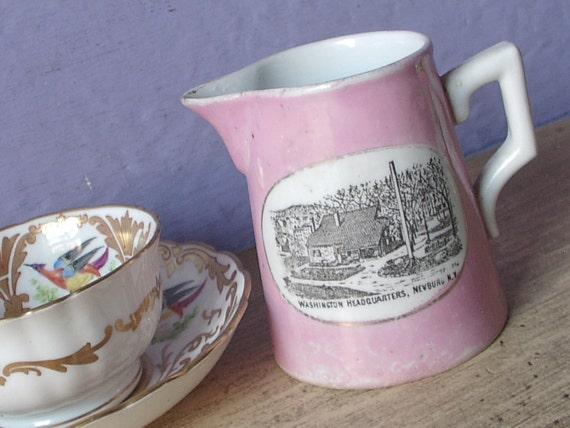 Antique porcelain creamer, Made in Germany, George Washington Headquarters, pink creamer, antique creamer, German porcelain creamer