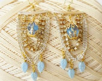 Pale Blue Chandelier Earrings, Powder blue, Rhinestones Chains & Beads, Vintage style, Festooned, Retro Chic, Pastel earrings, Baby blue