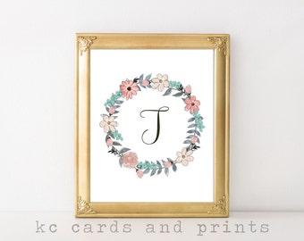 Letter T Monogram Printable - Wall Art - Custom Monogram - Nursery or Wedding