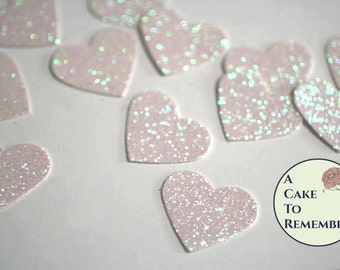 White glitter hearts confetti for wedding confetti, bridal showers, birthday party decor, scrapbooking or cake table decor. Paper hearts
