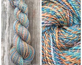 Handspun yarn,  Hand Spun Merino/Tencel, Wool yarn, Hand Dyed Yarn, Merino Wool