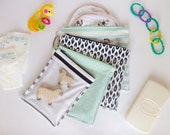 Diaper Bag/Nappy Bag Organizing Pouches- Set of 4 Zippered Bags (Navy Blue & Mint Green)