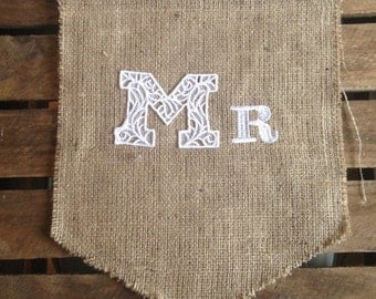 MR and MRS chair back hessian bunting, pennant