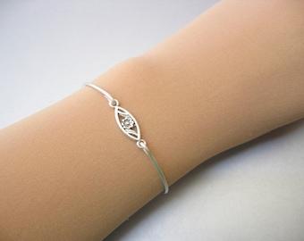 FLOWER in MARQUIS charm bangle bracelet