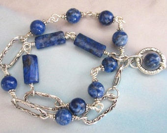 Lapis Stone Bead and Silver Metal Double Wrap Bracelet, Natural Stone Beads, FREE SHIPPING, Bracelet