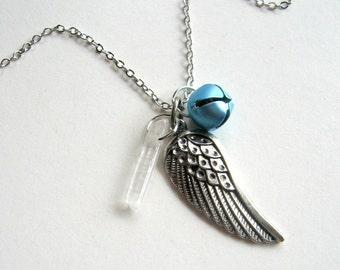 Angel Wing, Bell, and Quartz Wand Necklace - Enchanted Petite - Charm necklace, holiday necklace, angel, wing, jingle bell, quartz, gift